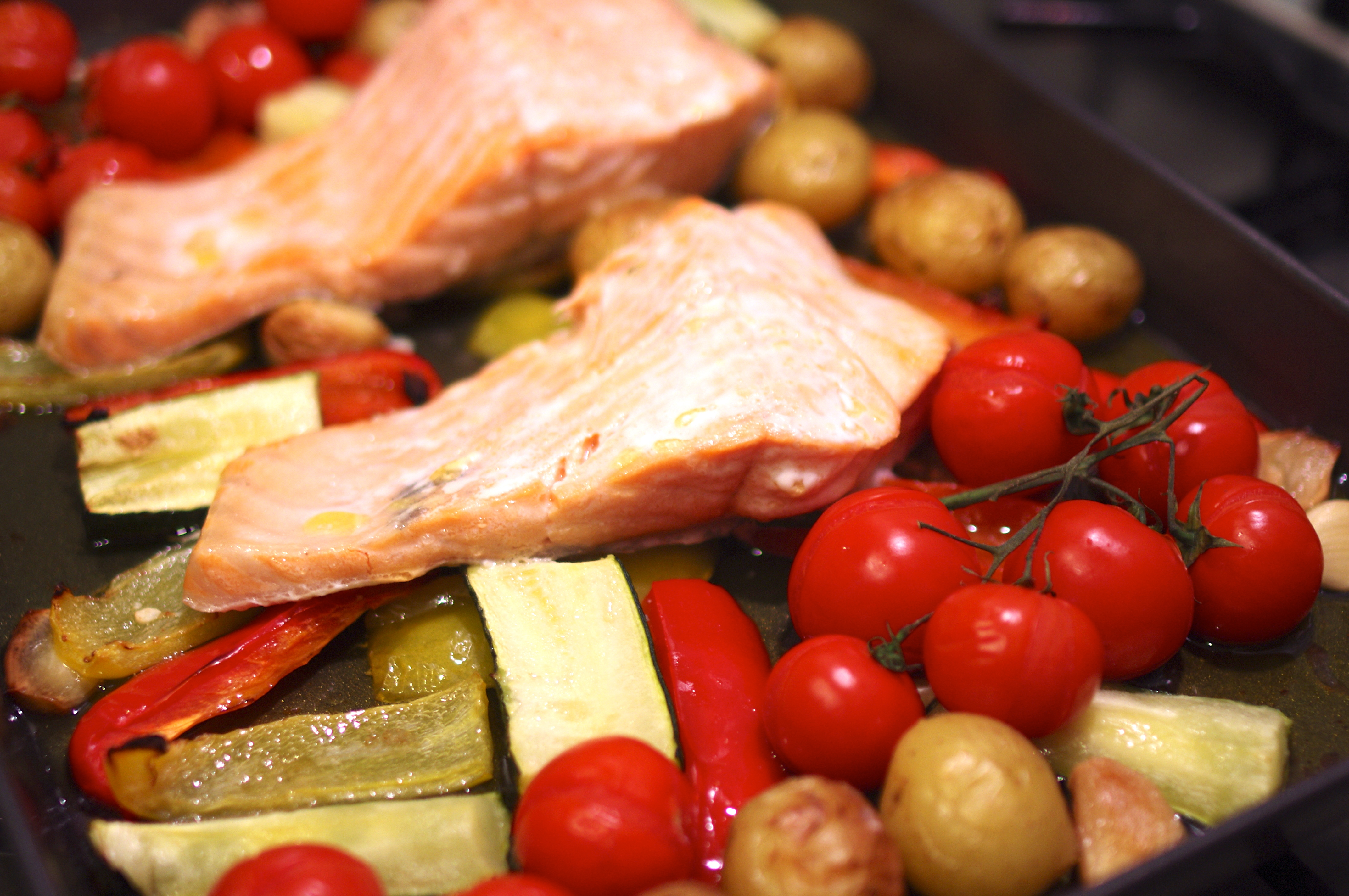 Salmon fillet with roasted vegetables    SurreyKitchen