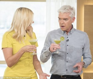 Holly Willoughby enjoying a cocktail